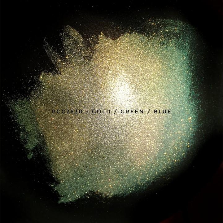 Косметический пигмент PCC2630 golden/kelly/green/blue (золотой/зеленый/синий), 25-130 мкм