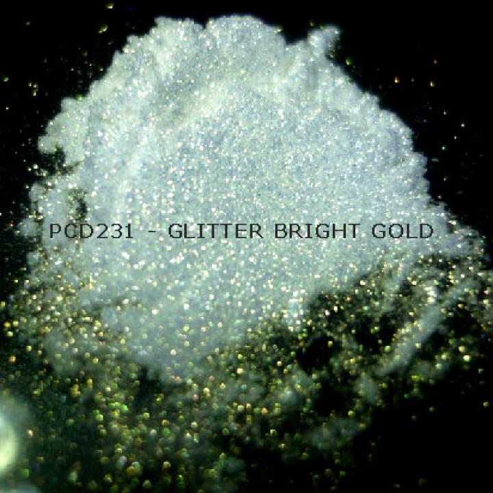Косметический пигмент PCD231 Glitter Bright Gold (Блестки ярко-золотые), 30-150 мкм