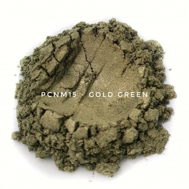 Косметический пигмент PCNM15 Gold Green (Зеленое золото), 10-60 мкм